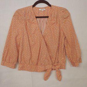 Madewell blouse S Peach orange Star Wrap Cotton